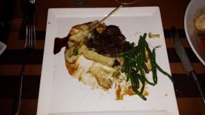 Herb-Salt Seasoned Beef Tenderloin Caramelized Field Mushrooms, Organic Green Beans, Potato Mash, and Sauce Bordelaise