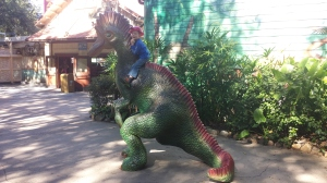 Marshall riding a dinosaur!