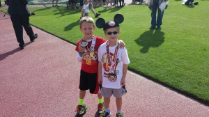 Marshall and EJ at the finish.