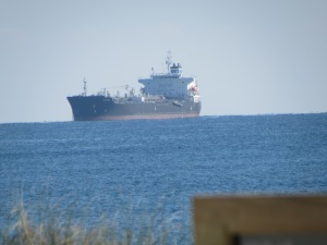 A cargo ship...that was probably at least a half a mile away. That zoom really does work!